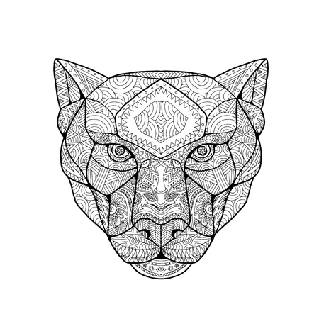 Inspired and tangled mandala, illustration of head of a black panther, viewed from front on white background.