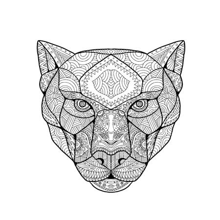 Mandala inspirada e emaranhada, ilustração da cabeça de uma pantera negra, vista de frente no fundo branco. Ilustración de vector