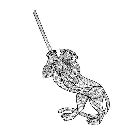 Mandala style, illustration of a tiger brandishing katana sword in fighting stance on white background. Illustration