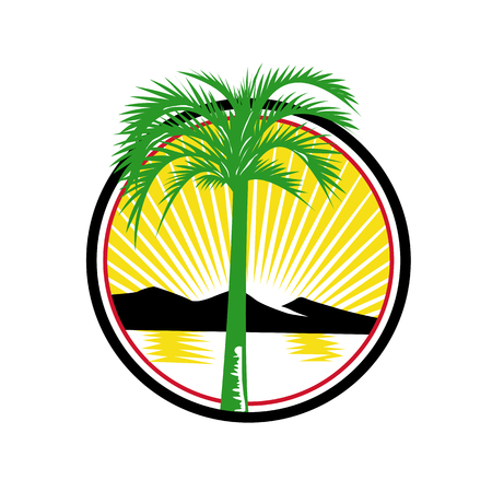 Retro style, illustration of a royal palm tree with sea and mountain in background. Inside circle with sunburst on white background.