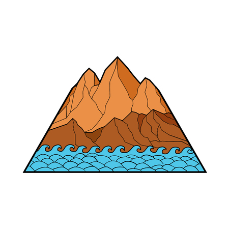 Mono line illustration of ragged mountain with sea waves on white background.