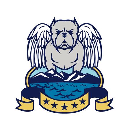 レトロなスタイル、天使の羽を持つアメリカのいじめっ子犬のイラスト。海と山を持つ島に立って、楕円形の内側に白い背景に5つ星のバナー。