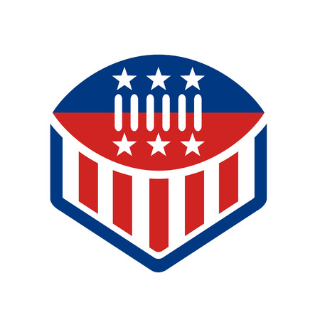 Icon style, illustration of an American Football on top of crest. Shield with USA stars and stripes banner Flag white background.