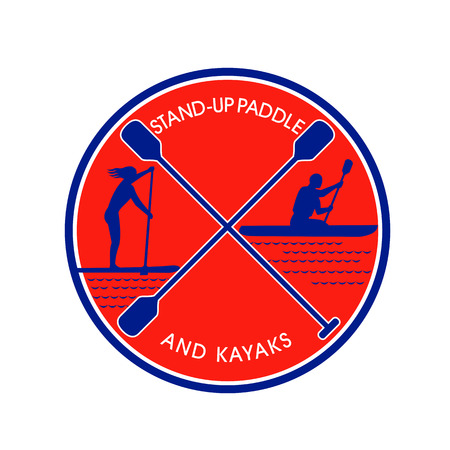 Retro style, illustration of female on stand-up paddle and male on kayak. Paddling with crossed paddle in center, inside circle on white background.