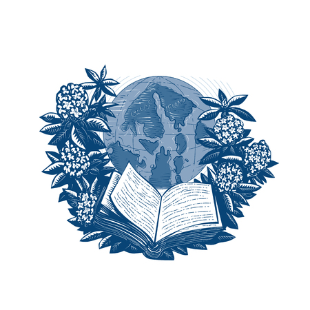 Drawing sketch style, vector illustration. Showing map of Orcas Island on globe framed by rhododendron flower and leaves with open book below on white background.