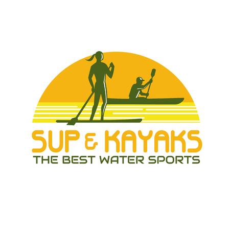 Retro-stijl illustratie van persoon op opstaan peddel, evenals peddelen op kajak kano, binnen halve cirkel met woorden SUP en Kayak, de beste watersporten.