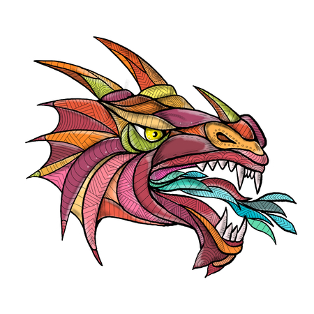 Mandala style illustration of a dragon head breathing fire viewed from side  on isolated background. Stock Photo