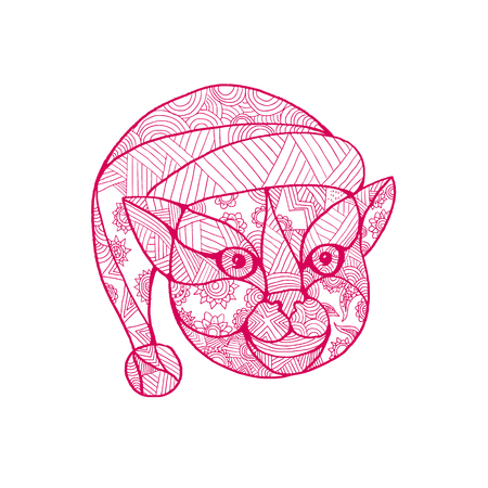 Mandala style illustration of a head of a cat wearing santa claus hat viewed from front