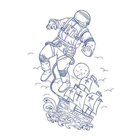 Drawing sketch style illustration of an astronaut or spaceman tethered to Portuguese caravel or galleon ship floating in space with moon in background.