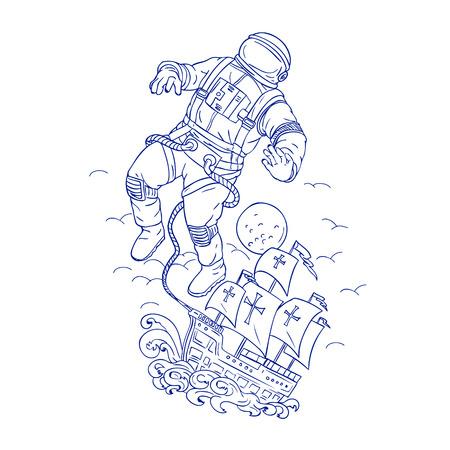 Tekening schets stijl illustratie van een astronaut of ruimtevaarder vastgebonden aan de Portugese caravel of galjoen schip drijvend in de ruimte met de maan op de achtergrond.
