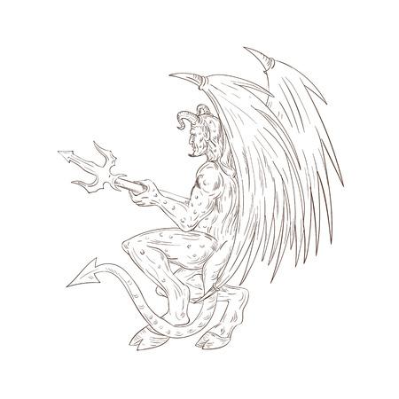 側から見た trident の熊手を持ってバット翼を持つ悪魔、サタン、悪魔、または角のあるモンスターのスケッチ スタイルの図を描画します。