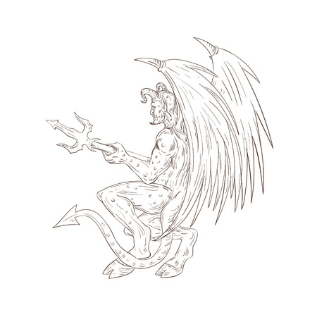 Drawing sketch style illustration of a demon, satan, devil, or horned monster with bat wings holding a trident pitchfork viewed from side.
