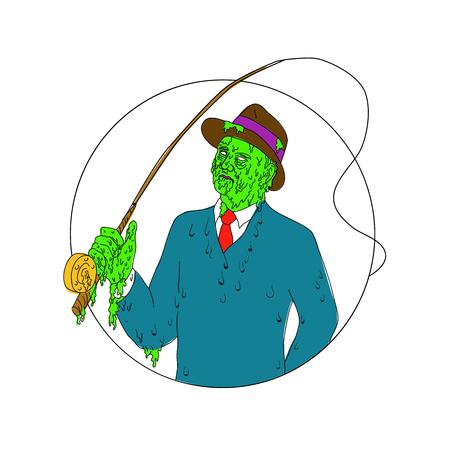 Grime kunst stijl illustratie van een gangster visser draagt pak en stropdas en fedora hoed met een vlieg staaf reel set binnen cirkel. Stock Illustratie