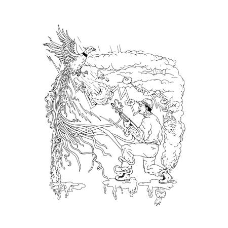 De stijlillustratie van Ukiyoe van een jager met jachtgeweer die een vogel van de rings necked fazant schieten die over rook en bliksem vliegen