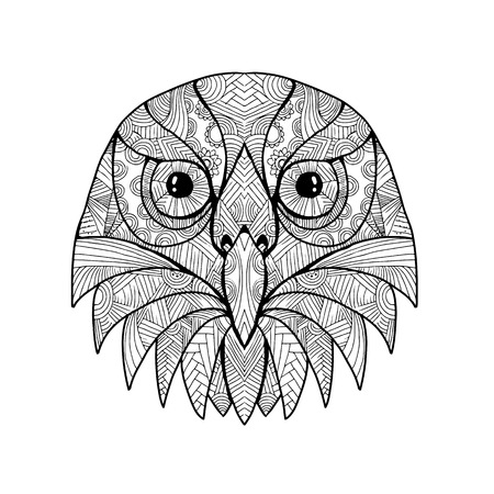 Mandala style illustration of a head of an Australian barking owl, ninox connivens, or winking owl viewed from front
