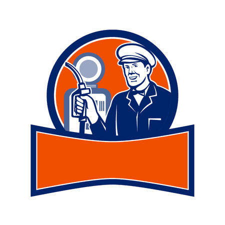 복고 스타일 격리 된 배경 아래에 배너와 원 안에 설정 휘발유 역 연료 노즐을 들고 빈티지 주유소 수행자의 그림.