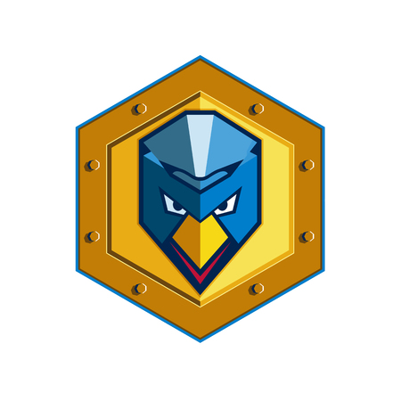 Icon style illustration of a cyber punk chicken head wearing mohawk viewed from front set inside hexagon on isolated background. Illustration