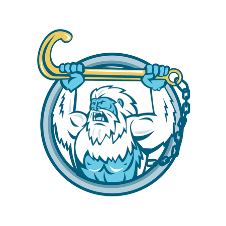 Retro style vector illustration of a muscular yeti or abominable snowman Vettoriali