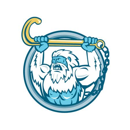 Retro stijl vectorillustratie van een spier yeti of een afschuwelijke sneeuwman