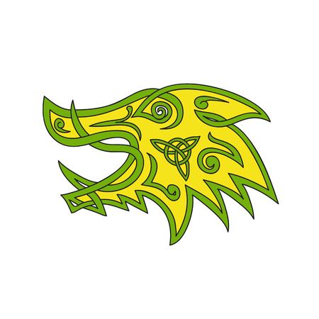Keltische knoop gestileerde illustratie van een everzwijn, wild varken, varken of razorback hoofd gezien van kant gedaan in vlechtwerk of knotwork geweven in ongebroken koordontwerp. Stock Illustratie