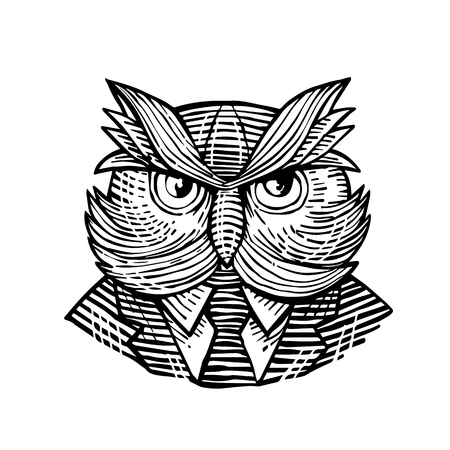 Retro woodcut style illustration of a hip or hipster wise owl with moustache wearing suit and tie viewed from front done in black and white.