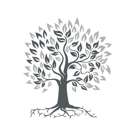 Retro-stijl illustratie van een gestileerde eik met wortels op geïsoleerde achtergrond.