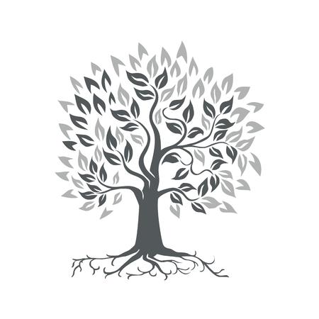 Retro-stijl illustratie van een gestileerde eik met wortels op geïsoleerde achtergrond. Vector Illustratie