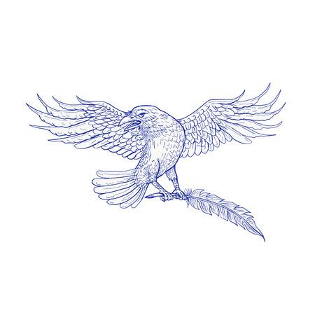De schetsillustratie van de tekeningsschets van een gemeenschappelijke of noordelijke raaf of een kraai die een schacht dragen die op geïsoleerde achtergrond wordt geplaatst.