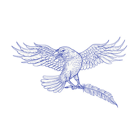 Drawing sketch style illustration of a common or northern raven or crow carrying a quill set on isolated background.