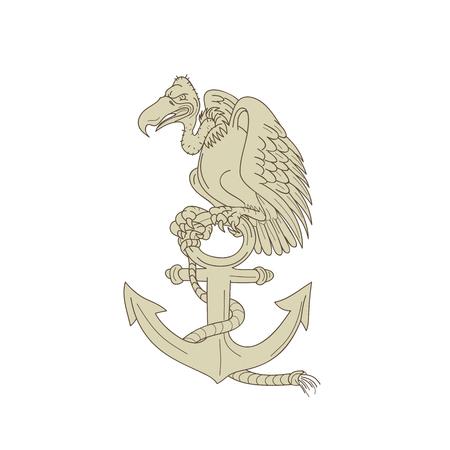 Ilustração do estilo dos desenhos animados de um abutre ou de um abutre de peru que empoleira-se a âncora da marinha com corda no fundo isolado.