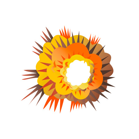 Retro style illustration of a bomb explosion exploding on isolated background.