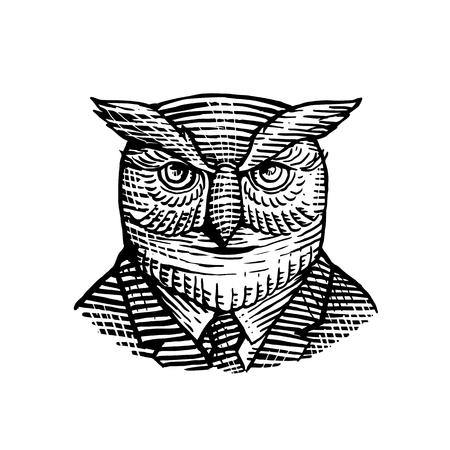 レトロな木版画、流行に敏感な素晴らしい角のある賢明なフクロウの身に着けているスーツとネクタイは、黒と白で隔離された背景に正面から見た