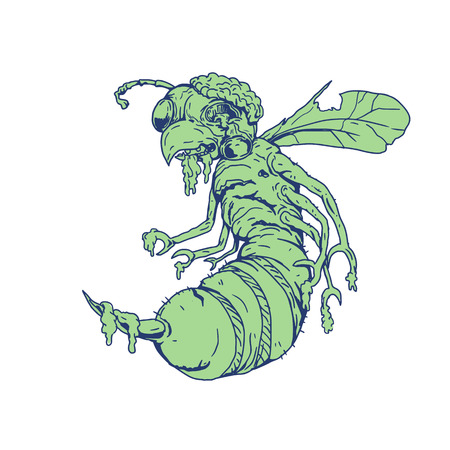 Cartoon style illustration of a zombie bee with eyes popping off and exposed brain set on isolated background.