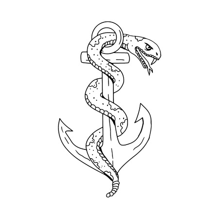 Drawing sketch style illustration of rattlesnake coiling around anchor on isolated background done in black and white. Illustration