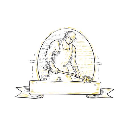 ●横から見たスチール製錬作業員のモノラインイラストは、バナーリボンの下に楕円形の内側にセットされています。