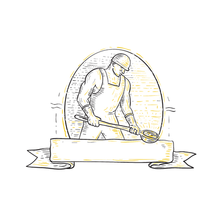 Mono line illustration of a foundry iron smelting worker holding steel ladle or bowl viewed from side set inside oval with banner ribbon underneath.