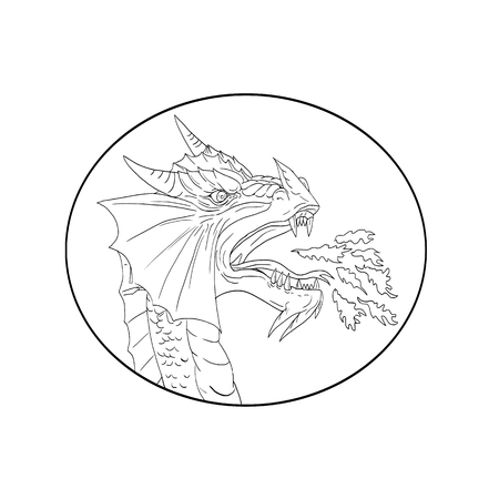 Drawing sketch style illustration of a dragon breathing fire viewed from side set inside oval shape done in black and white.
