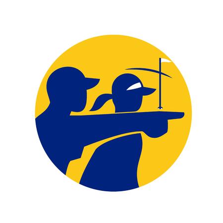 캐디 또는 캐디 격리 된 배경에 원 안에 설정된 골퍼 가리키는 아이콘 스타일 그림.