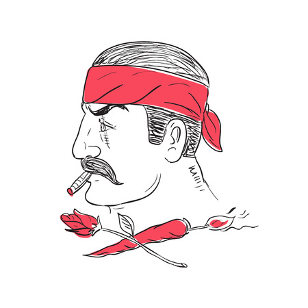 Drawing sketch style illustration of a Mexican guy smoking cigar wearing bandana with scar of face with crossed hot chili with burning fuse and rose flower. Illustration