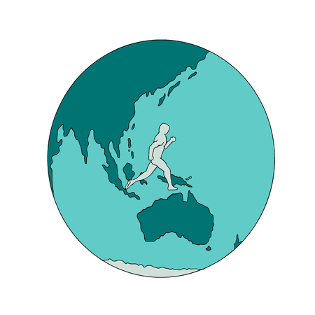 Drawing sketch style illustration of a marathon runner running around the world on isolated background.