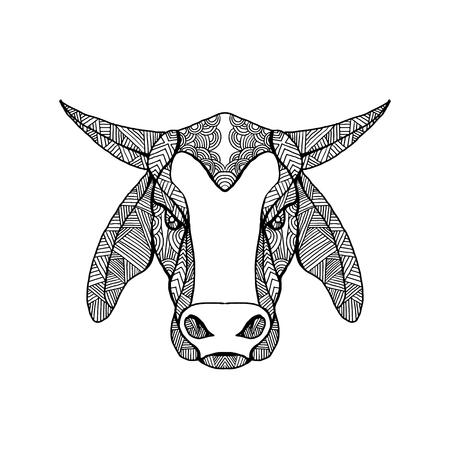 Mandala-stijlillustratie van een brahma of Brahman-stierenhoofd van voorzijde op geïsoleerde achtergrond wordt bekeken die. Stockfoto - 91723998