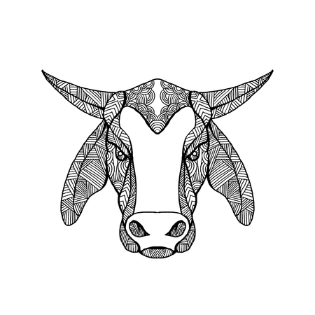 Mandala style illustration of a brahma or Brahman  bull head viewed from front on isolated background.