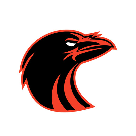 Icon style illustration of an angry raven or crow head looking up on isolated background.