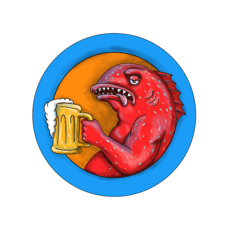 Mandala style illustration of a coral trout, leopard coral grouper, or leopard coral trout with mug of beer ale a little bit drunk set inside circle  on isolated background.