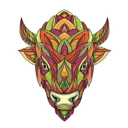 Mandala-stijlillustratie van een Amerikaans die buffel of bizonhoofd van voorzijde op geïsoleerde achtergrond wordt bekeken.