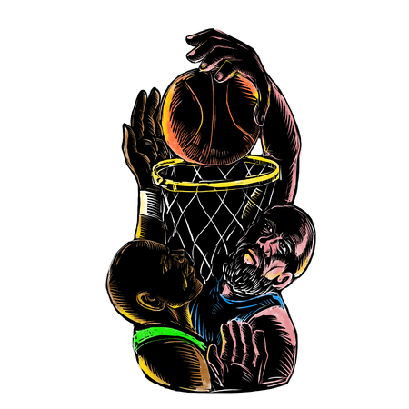 Tattoo style illustration of  a Caucasian basketball player dunking ball on hoop while other African-American is blocking on isolated background.
