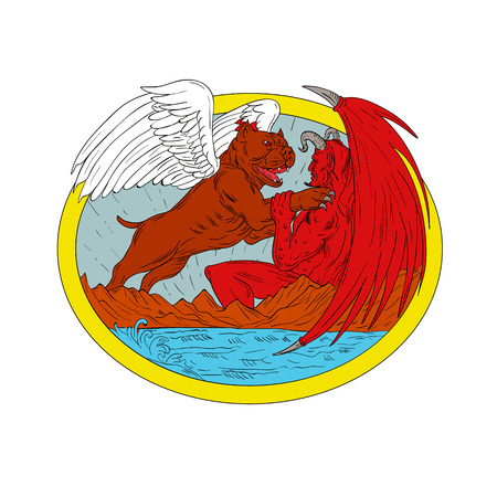 Drawing sketch style illustration of an american bully dog with angel wing fighting mauling satan, devil or demon with mountain and sea set inside oval.