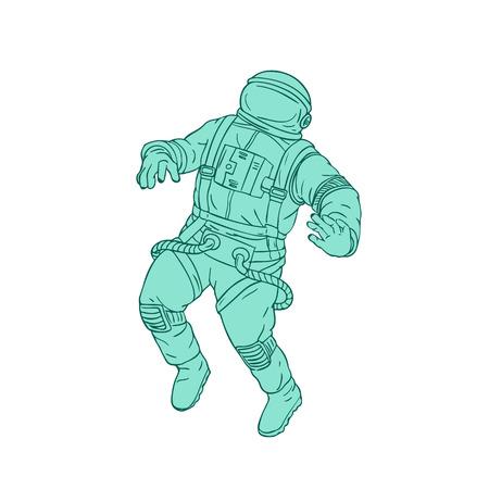 우주 비행사, 우주 비행사 또는 격리 된 배경에 공간에 떠있는 우주인의 스케치 스타일 그림 그리기.