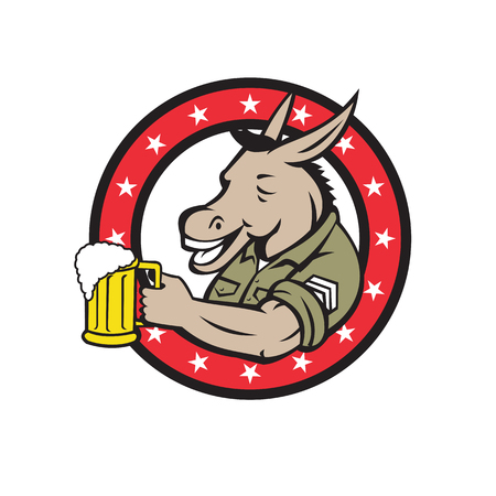 Retro style illustration of a donkey beer drinker wearing a sargeant military uniform holding a mug of beer ale set inside circle on isolated background. Ilustração