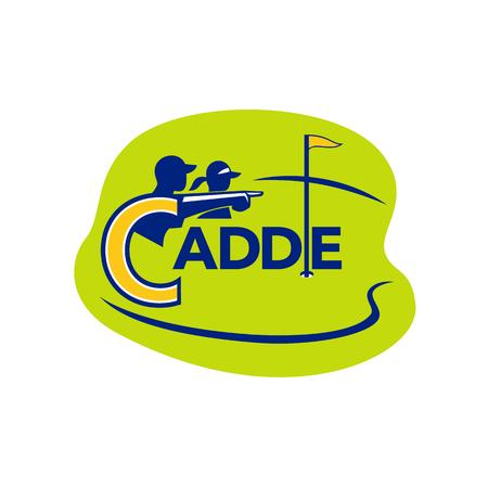 격리 된 배경에 골프 코스 안에 설정하는 골퍼를 가리키는 캐디의 아이콘 스타일 그림.
